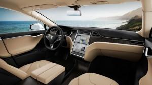 Tesla Model S productie versie interieur.